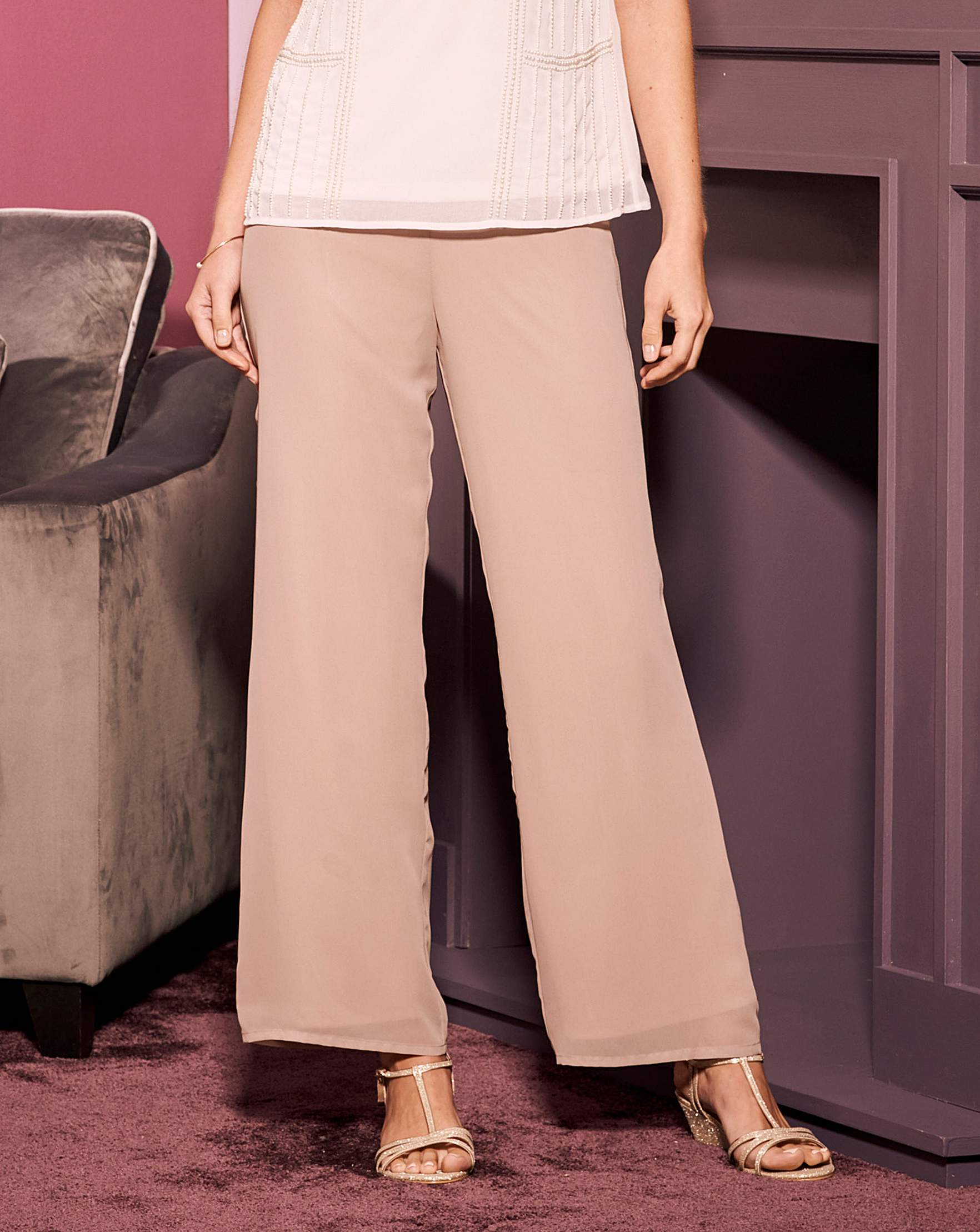 Nightingales Chiffon Trouser J D Williams Jeans Pant Woman 7 9 Mocca