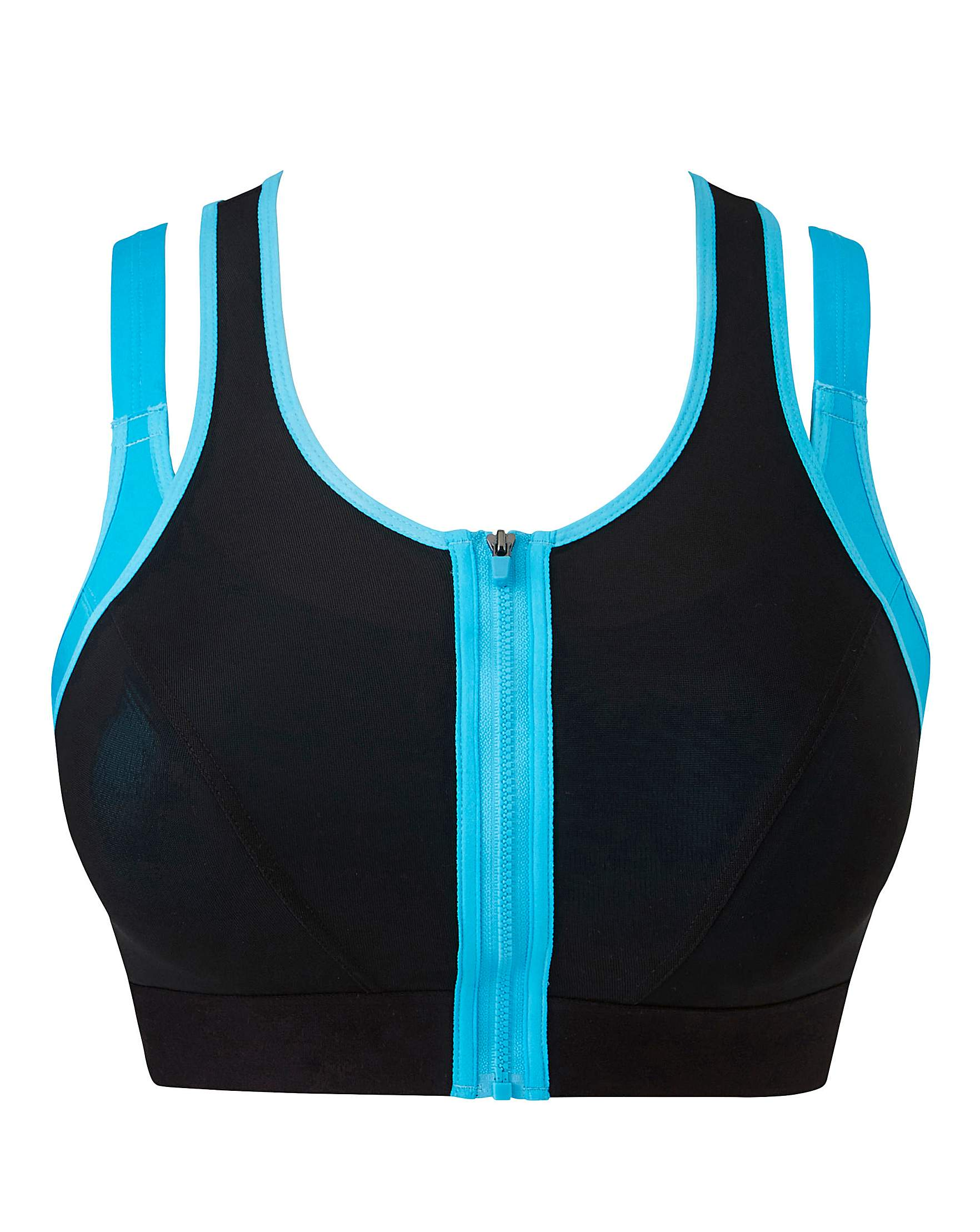 High Impact Layered Zip Front Sports Bra   Simply Be