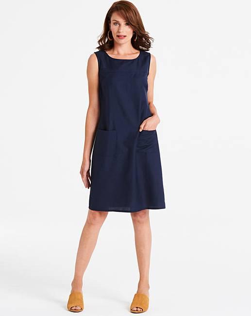 cede0dbeea8 Navy Linen Shift Dress