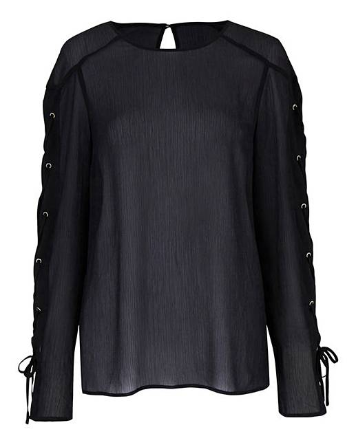 e516595c40 Black Lace Up Sleeve Top