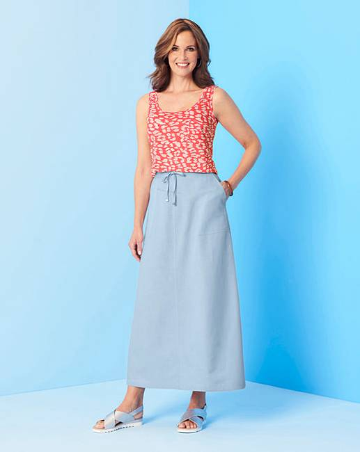 8cf77d810 Easy Care Linen Mix Maxi Skirt | Oxendales