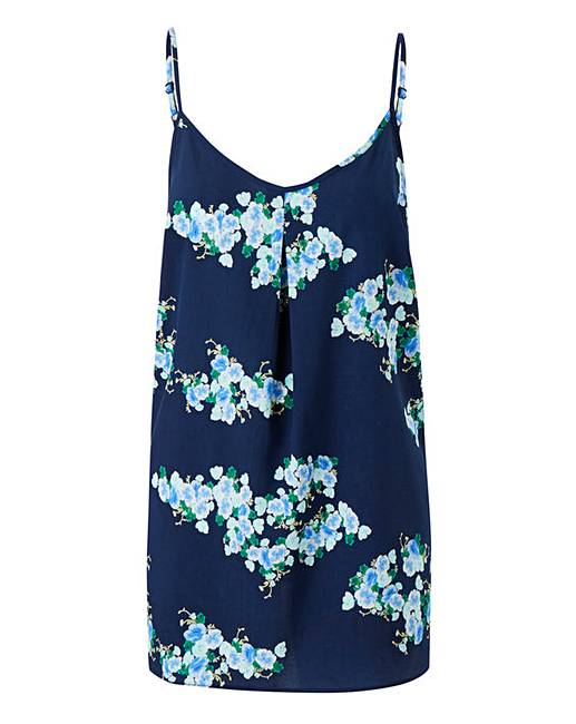 b6fda9409d4df4 Navy Floral Strappy Cami Top
