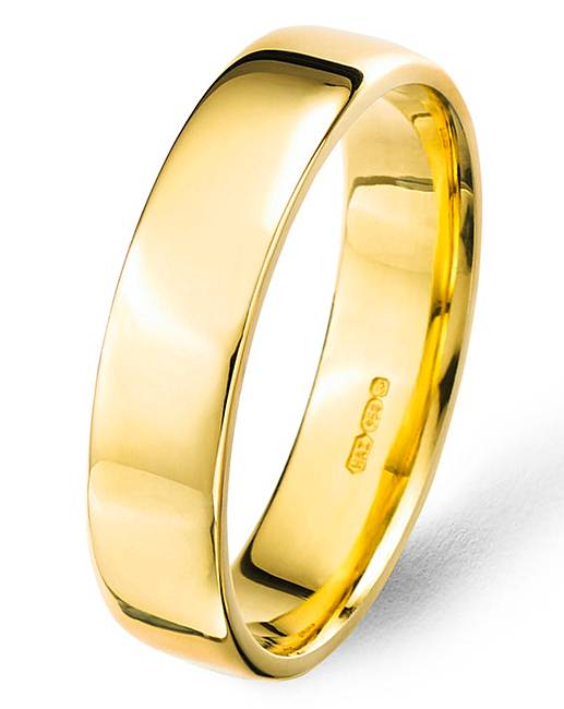 Argentium Silver With Gold Plating 5mm Mens Plain Wedding Band