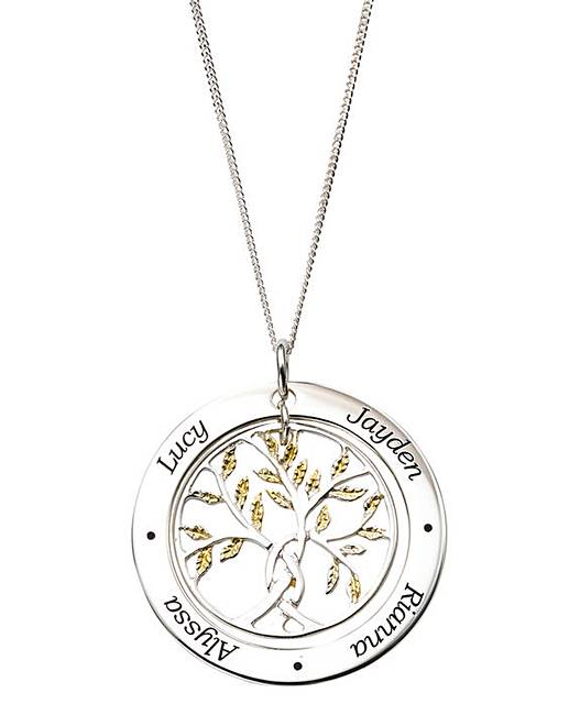 Personalised gold family tree pendant j d williams personalised gold plated leaves family tree pendant on an 18in curb chain aloadofball Choice Image