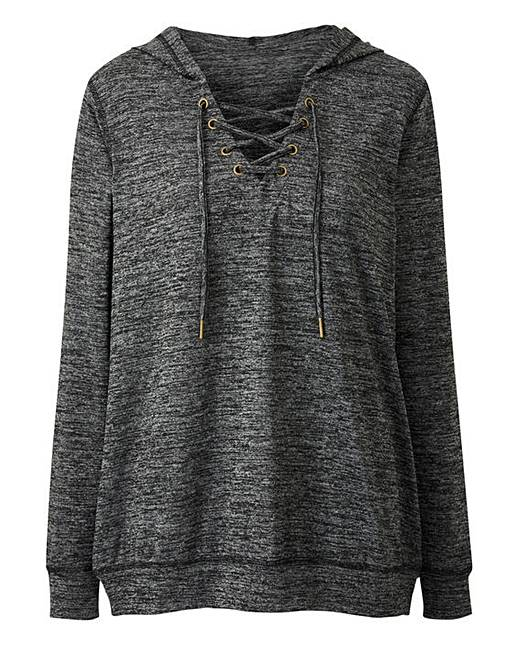 Grey Marl Slouchy Knitted Lace Up Hoodie  4be507e4a