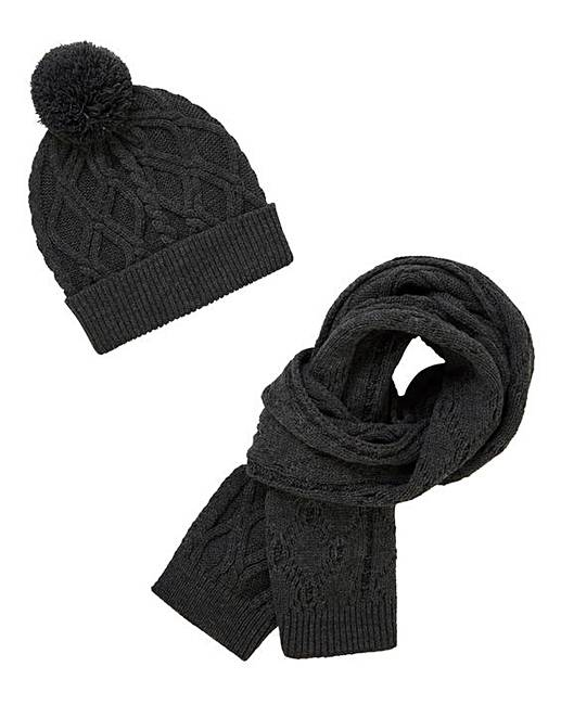 Charcoal Cable Hat   Scarf Set  095f831065a