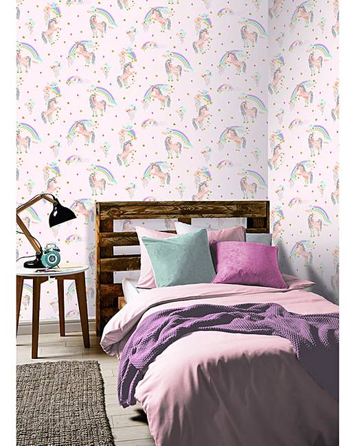 Rainbow Unicorn Pink Glitter Wallpaper Home Beauty Gift Shop