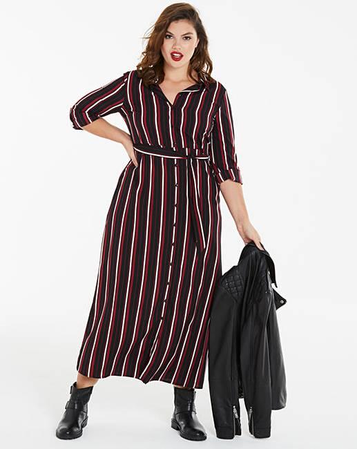 f229052cec6a Stripe Print Maxi Shirt Dress | Simply Be