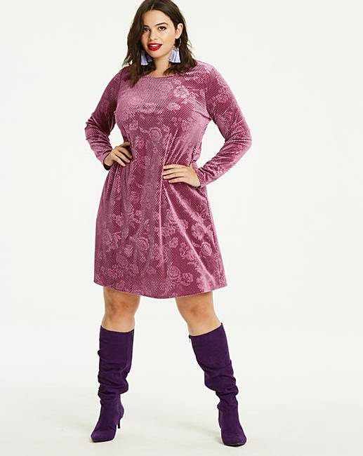11faebec4d5b2 Dusty Pink Embossed Velour Swing Dress | Simply Be