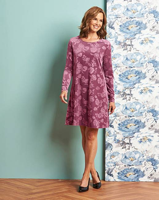 00a89dd3c9157 Dusty Pink Embossed Velour Swing Dress | Oxendales