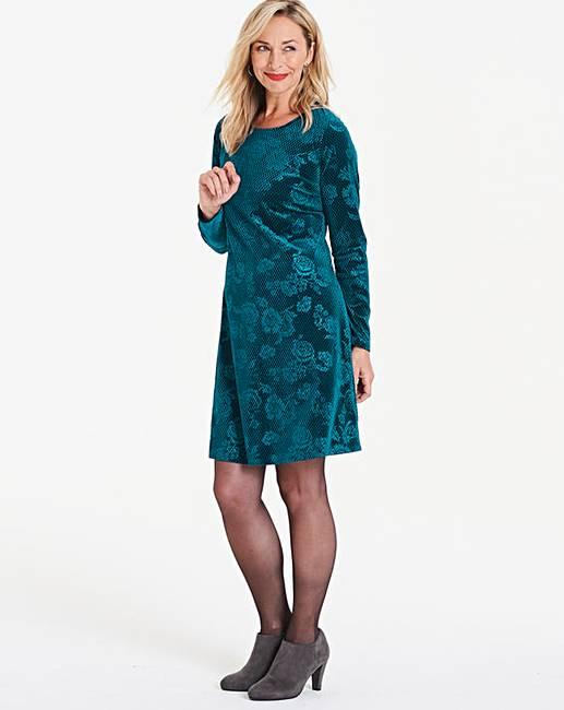 1b7828c5965ad Teal Rose Embossed Velour Swing Dress | Oxendales