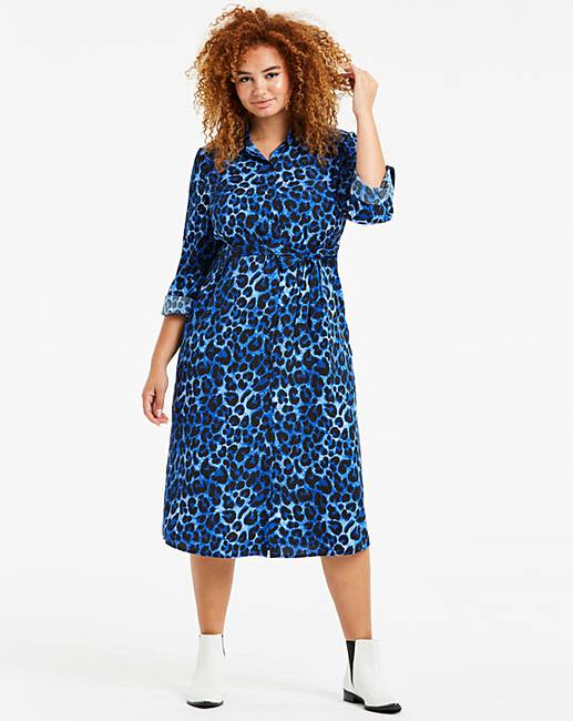 a5605d3a71c Blue Leopard Print Midi Shirt Dress