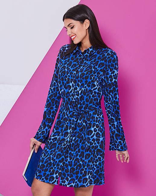 063c6af49dec2f Blue Leopard Print Mini Shirt Dress | Fashion World