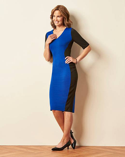 bf891a2a86f6 Cobalt V-Neck Illusion Bodycon Dress | Oxendales