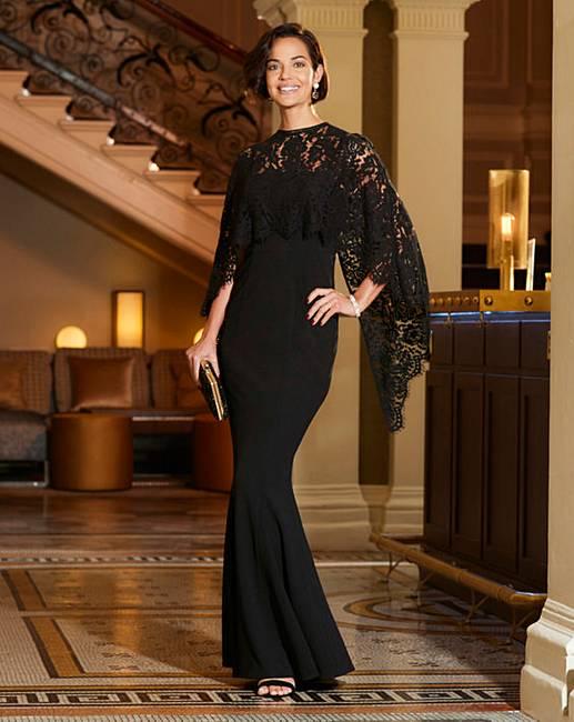 f6bb6b8839 Joanna Hope Lace Cape Maxi Dress | J D Williams