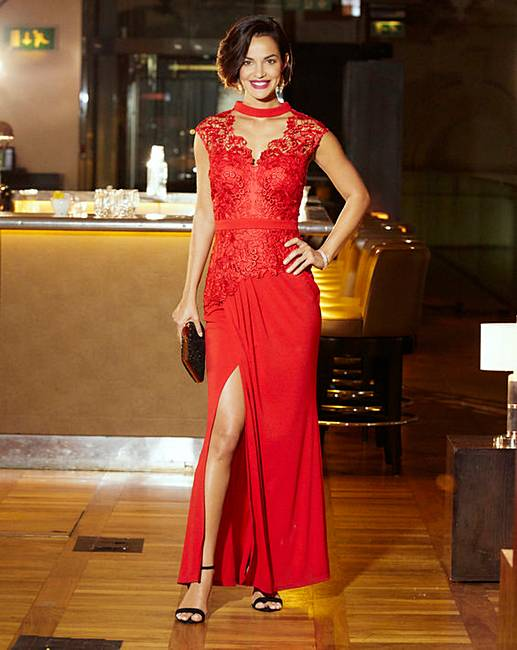 c4e3a17079 Joanna Hope Lace Trim Maxi Dress | J D Williams