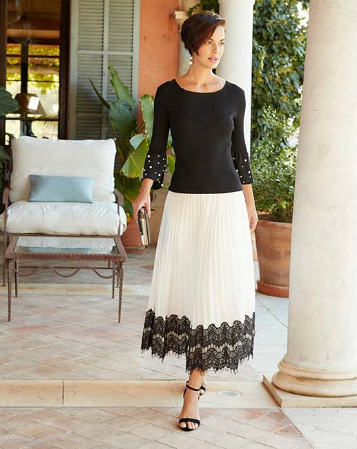 c73d966ea88 Joanna Hope Lace Trim Pleated Midi Skirt