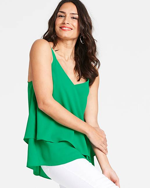 Green Double Layer Strappy Cami