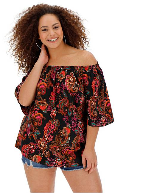 1f50d3948 Paisley Print 3/4 Sleeve Bardot Top | Simply Be