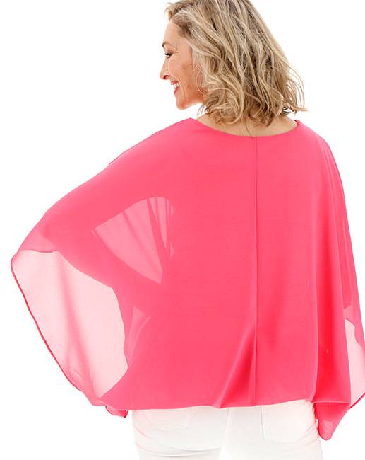 c0be2d5397a13 Pink Bubble Hem Overlay Blouse. Rollover image to magnify