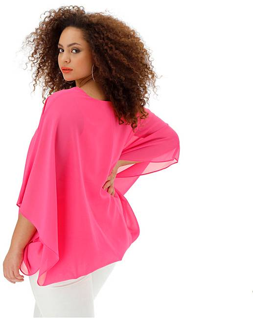 2b301a255d227 Pink Bubble Hem Overlay Blouse | Simply Be