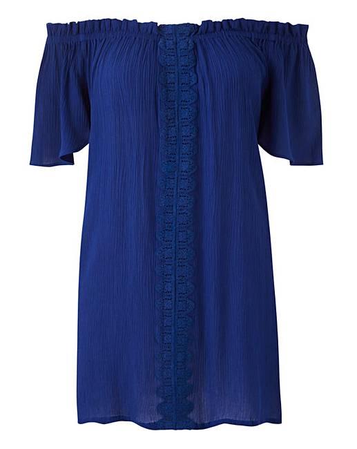 c4de324a Blue Crinkle Crochet Bardot | Simply Be