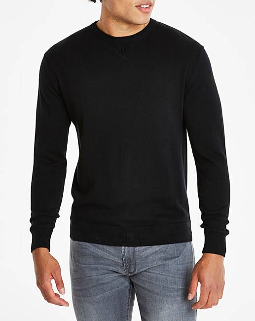 e6c661234d7f6e Black Crew Neck Cotton Jumper Long | Oxendales