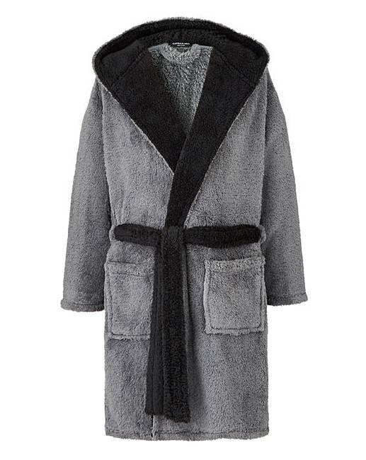 Capsule Grey Fleece Dressing Gown | Premier Man