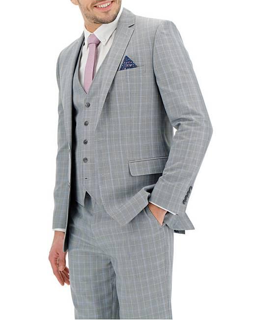 b9df78ab3888 Light Grey Check Henry Suit Jacket | Jacamo