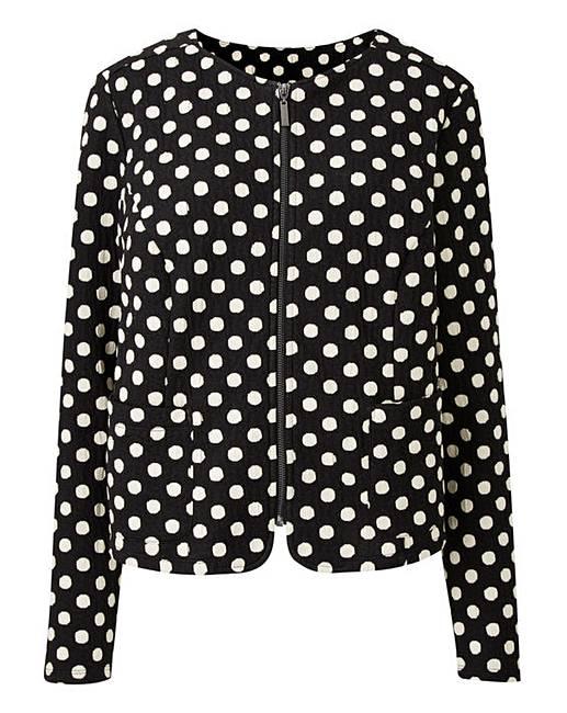 b191c9388f Spot Print Zip Front Stretch Jacket