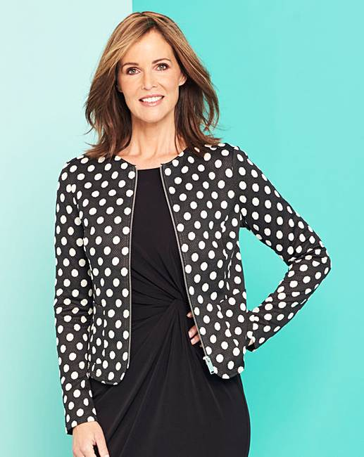 144ce63bd896 Spot Print Zip Front Stretch Jacket | Oxendales