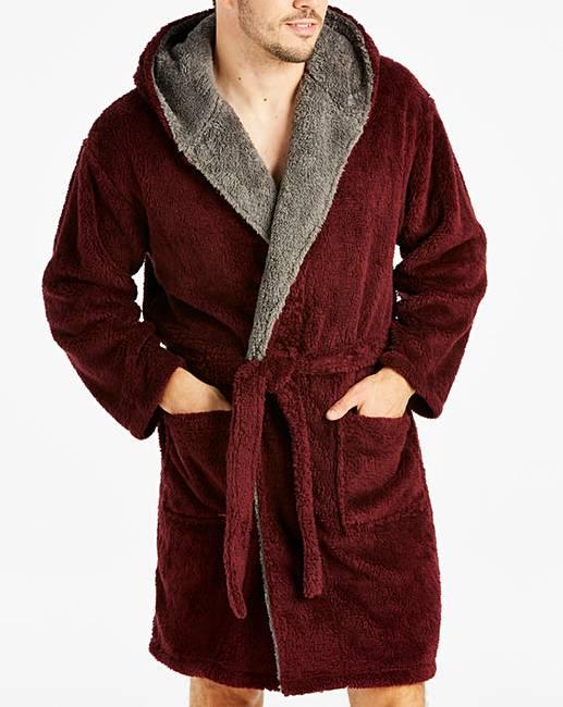 Burgundy Fleece Dressing Gown  ca0671959