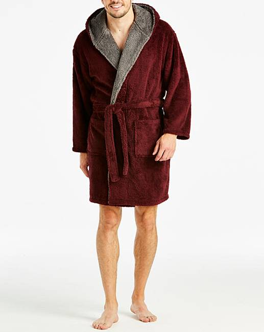Capsule Burgundy Fleece Dressing Gown | Premier Man