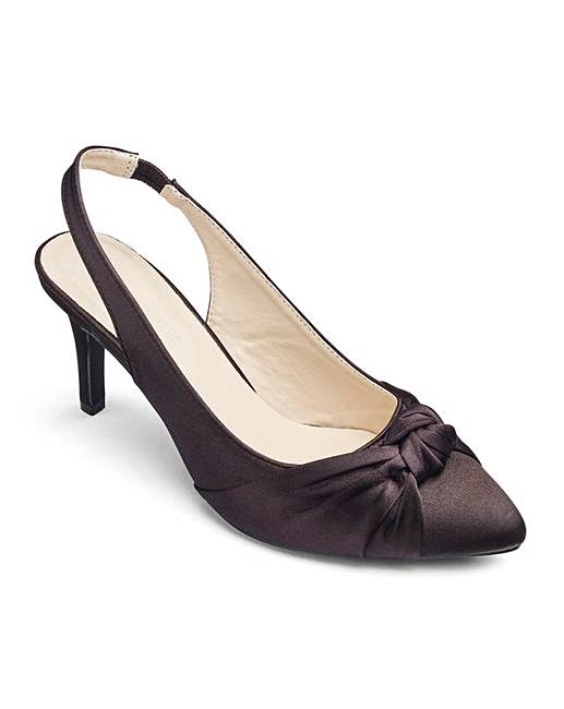 124f9121953 Heavenly Soles Knotted Vamp Slingback Shoes Extra Wide EEE Fit. Rollover  image to magnify