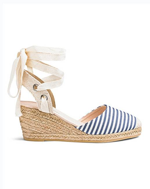 Leg Tie Wedge Espadrilles Extra Wide Eee Fit by Heavenly Soles