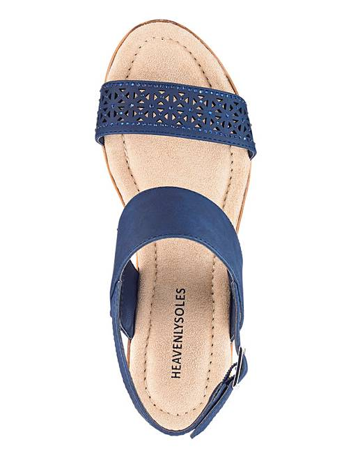 b3230a927ae Heavenly Soles Slingback Wedge Sandals Extra Wide EEE Fit. Rollover image  to magnify