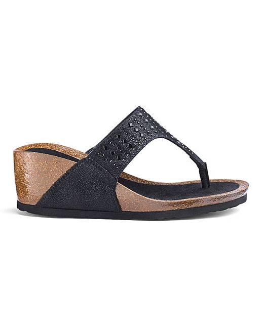 1c3cf1187ebc Toe Post Wedge Sandals EEE Fit