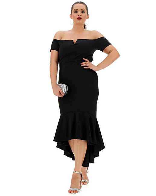 8053b0b5cc24 Quiz Curve Bodycon Fishtale Midi Dress | Simply Be