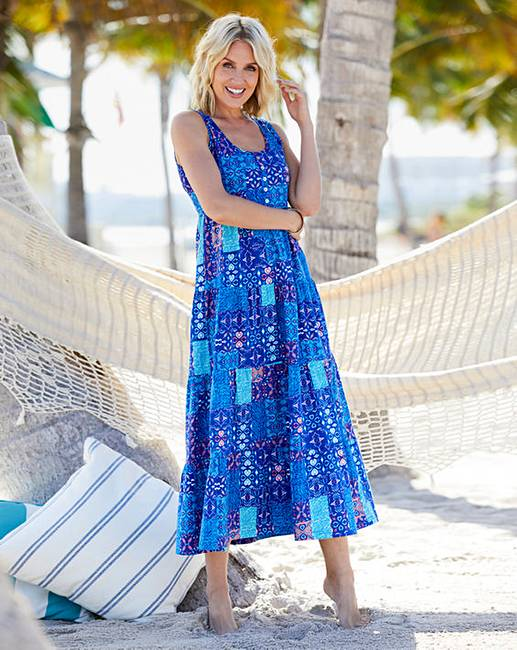 c1ee7b51e23 Patchwork Print Tiered Jersey Maxi Dress