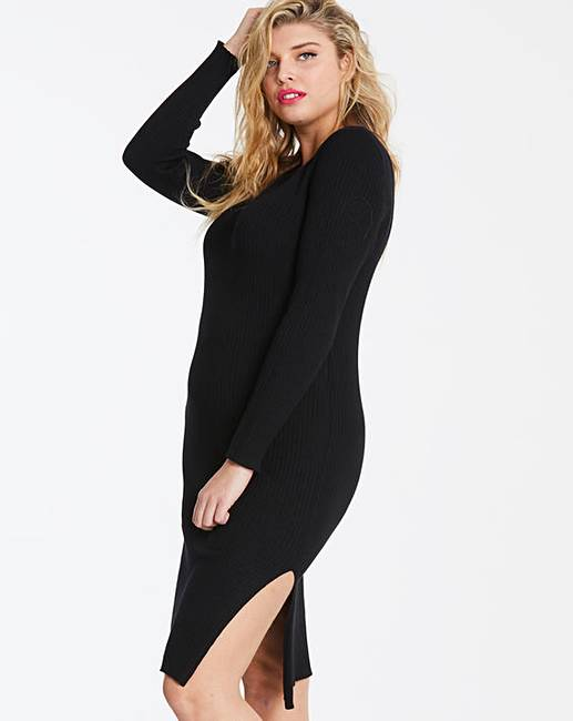 Black Ribbed Knitted Jumper Dress Simply Be