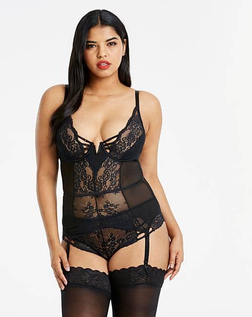 37c63040ed967 Simply Be Lauren Lace Suspender Slip