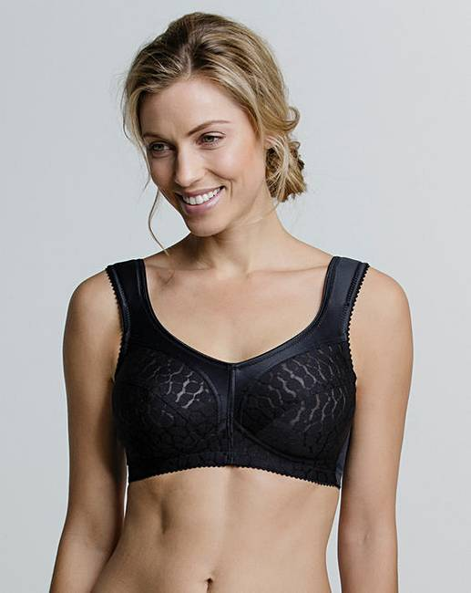 c45119450 Miss Mary Jacquard Non Wired Black Bra