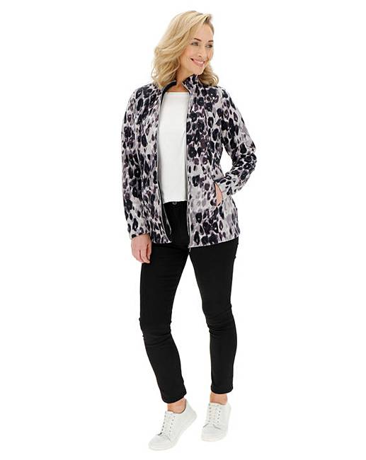 372994dabd37 Leopard Print Contrast Zip Fleece Jacket. Rollover image to magnify