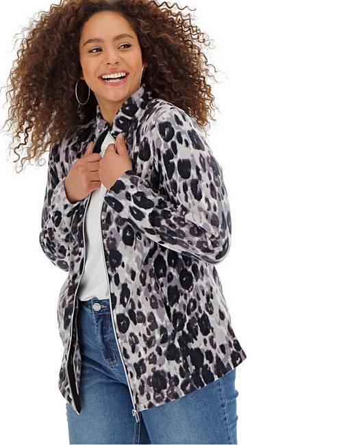 b329dc637066 Leopard Print Contrast Zip Fleece Jacket   Simply Be