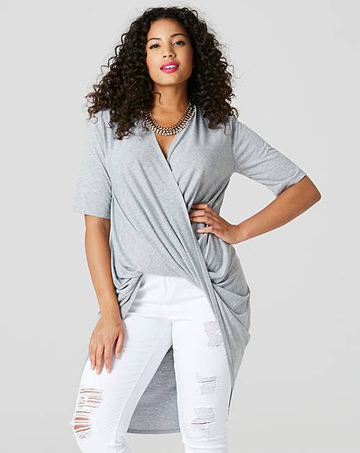 Grey Marl Wrap Ruched Tunic by Simply Be