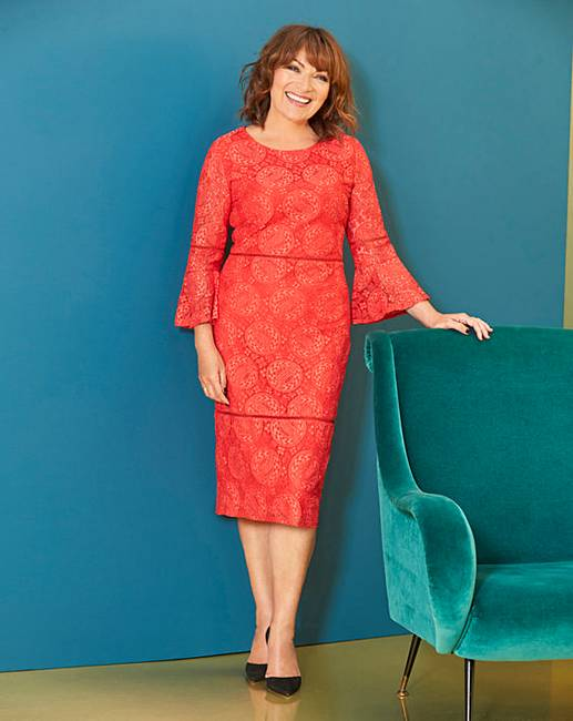b21514e422f6 Lorraine Kelly Trumpet Sleeve Lace Dress | Oxendales