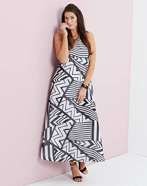 1dba2958fcb Black White Trapeze Print Maxi Dress