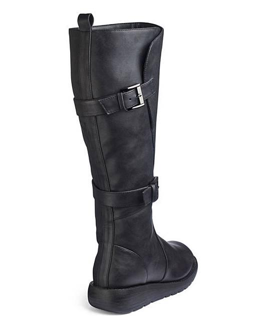 4faa52e87855 Double Buckle High Leg Boots Wide E Fit Curvy Calf