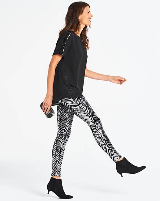 db4e05c80d443 Black & Silver Zebra Sequin Leggings | Oxendales