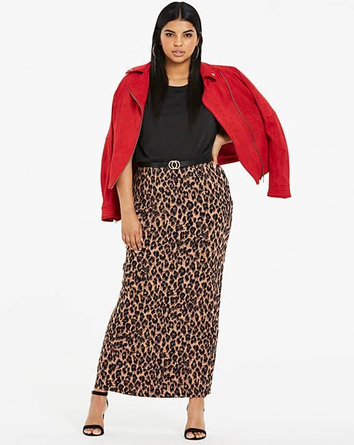 09409f20e5 Leopard Print Jersey Maxi Tube Skirt   Simply Be